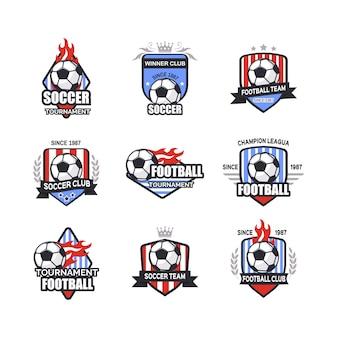 Conjunto de diseños de logotipos de fútbol soccer