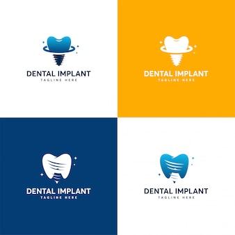 Conjunto de diseños de logotipos de implantes dentales, plantilla de logotipos de cuidado dental