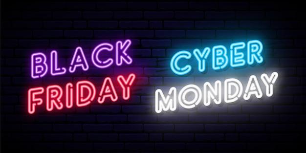 Conjunto de diseños de neón black friday y cyber monday.