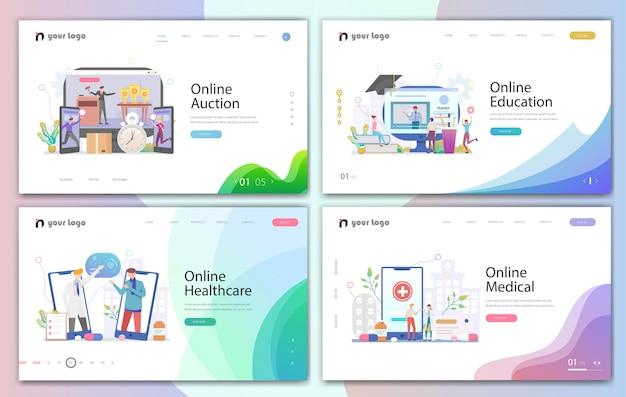 Conjunto de diseños de plantillas de sitios web creativos