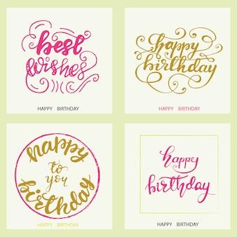 Conjunto de diseños de tarjetas de felicitación de cumpleaños con letras. ilustración vectorial