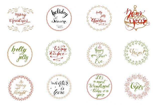 Conjunto de diseños de tarjetas de felicitación con letras de navidad. ilustración vectorial