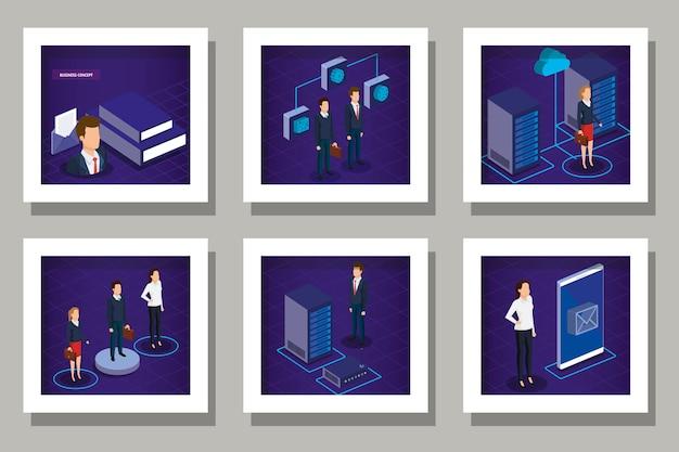 Conjunto de diseños de tecnología digital y gente de negocios