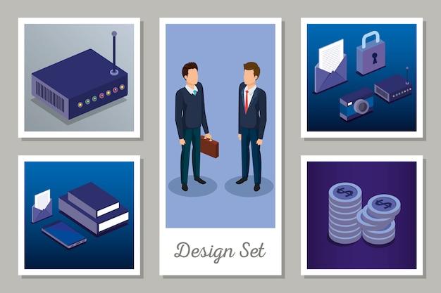 Conjunto de diseños de tecnología digital y hombres de negocios