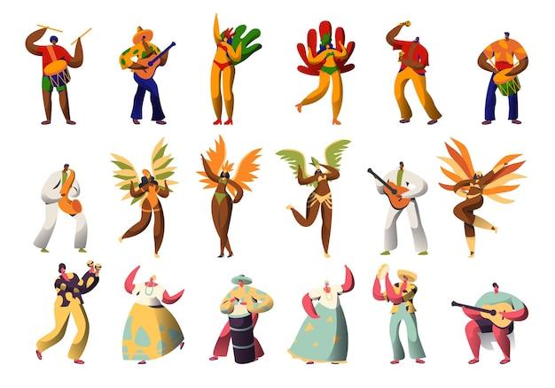 Conjunto de disfraces de personajes de carnaval brasileño.