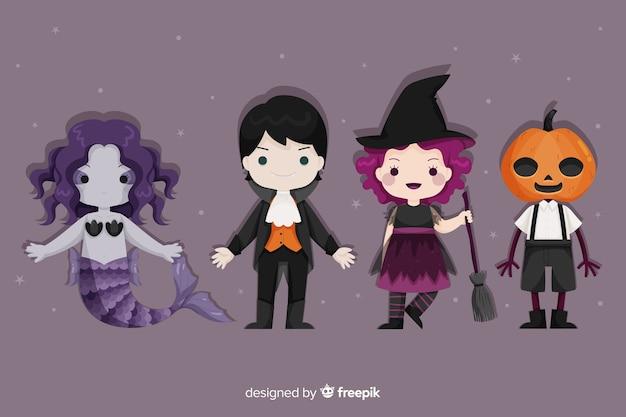 Conjunto de disfraces de personajes de halloween