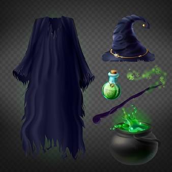 Conjunto con disfraz de bruja para fiesta de halloween y accesorios mágicos.