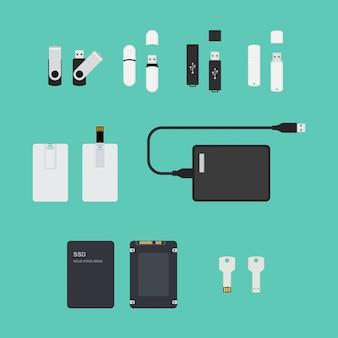 Conjunto de dispositivos de almacenamiento ssd y usb. ilustración sobre fondo azul