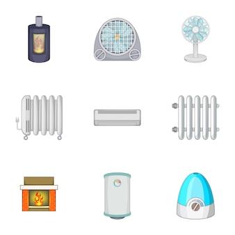 Conjunto de dispositivos para calentar y enfriar casas