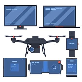 Conjunto de dispositivos con computadora de escritorio, computadora portátil, teléfono inteligente, drone, vidrios de video