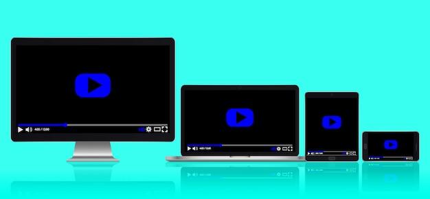 Conjunto de dispositivos digitales modernos realistas con reflejos.