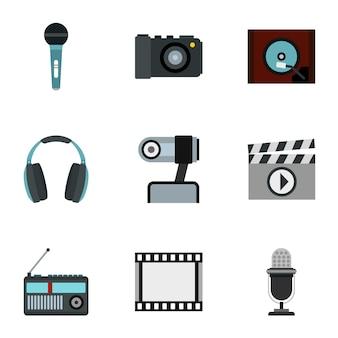 Conjunto de dispositivos electrónicos, estilo plano