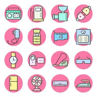 Conjunto de dispositivos electrónicos iconos elementos aislados