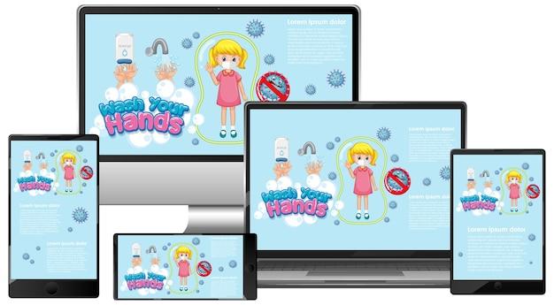 Conjunto de dispositivos electrónicos con lavado a mano en pantalla.