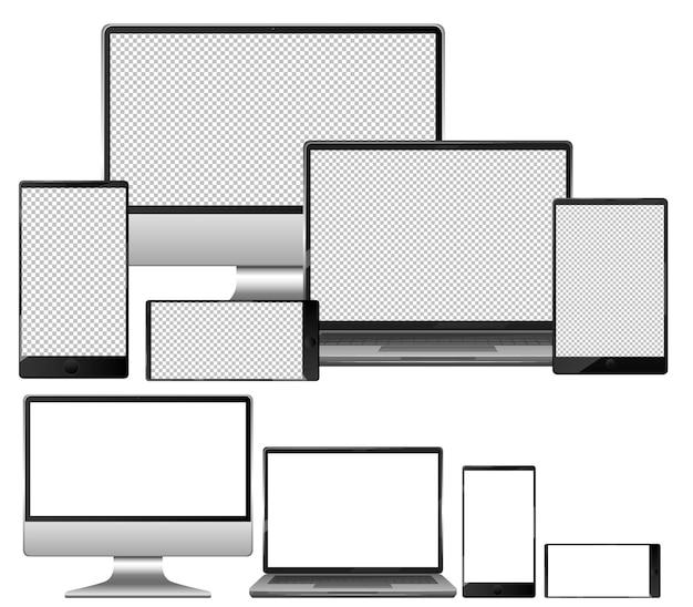 Conjunto de dispositivos electrónicos sobre fondo blanco.