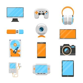 Conjunto de dispositivos electrónicos. usb y disco duro, reproductor y cámara web, joystick y computadora.