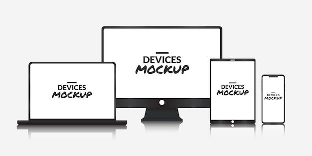 Conjunto de dispositivos tecnológicos con pantalla en blanco sobre fondo blanco.