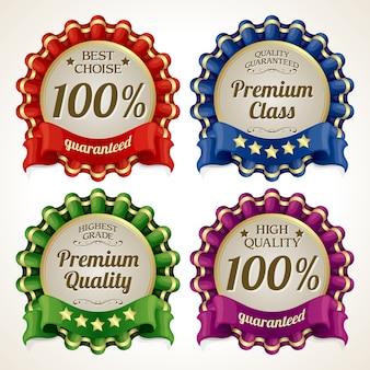 Conjunto de distintivos de calidad.