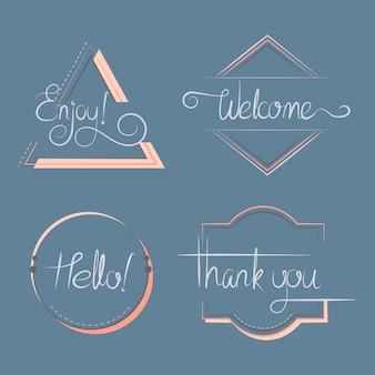 Conjunto de distintivos de tipografía.