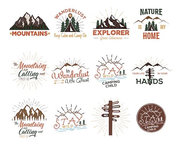 Conjunto de distintivos de viaje vintage.