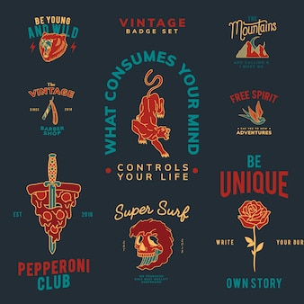 Conjunto de distintivos vintage.