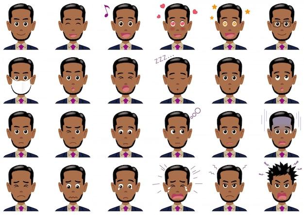 Conjunto de diversas expresiones de empresario. personajes de vectores aislados