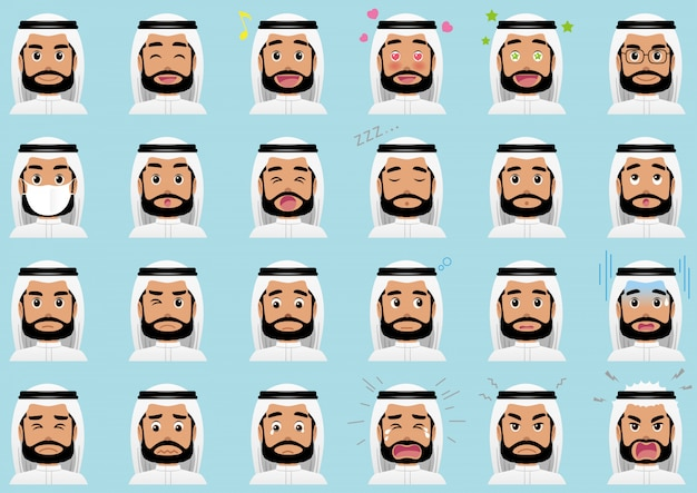 Conjunto de diversas expresiones faciales del empresario del medio oriente