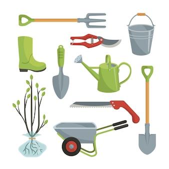 Conjunto de diversas herramientas agrícolas para el cuidado del jardín.