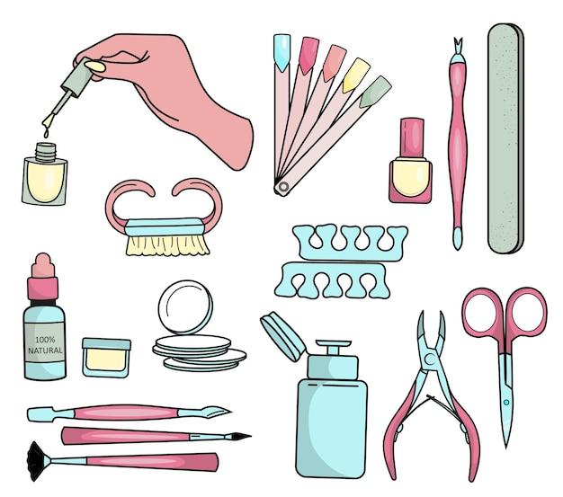 Un conjunto de diversas herramientas para manicura y pedicura.