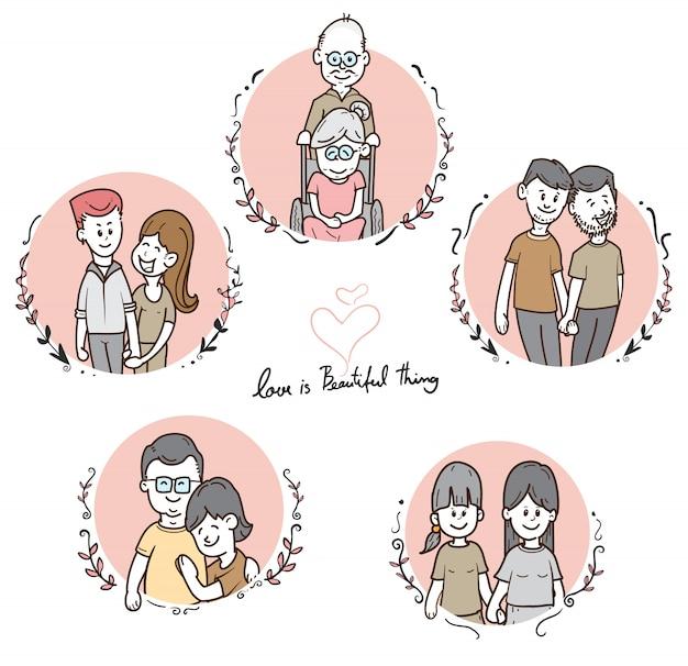 Conjunto de diversas parejas de dibujos animados lindo, raza mixta y gay, ilustración de vector de concepto lgbt, vector