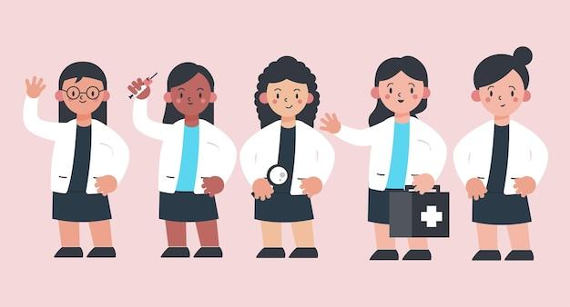 Conjunto de diversidad étnica del personal médico en personaje de dibujos animados con diferentes acciones, ilustración aislada
