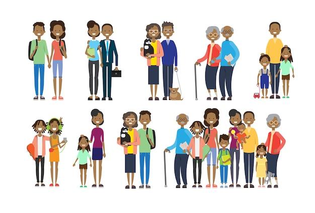 Conjunto diversidad posa abuelos africanos