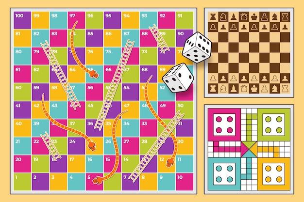 Conjunto diverso de juegos de mesa.
