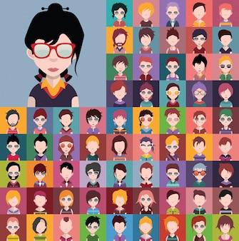 Conjunto de diversos avatares masculinos y femeninos vectoriales.
