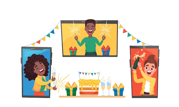 Conjunto de diversos hombres y mujeres en su casa celebrando una fiesta virtual a través de una videollamada.