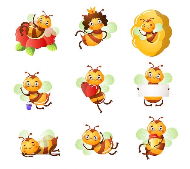 Conjunto de divertidas abejas lindas haciendo cosas casuales ilustración