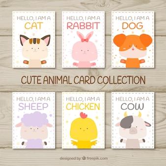 Conjunto divertido de tarjetas con animales felices