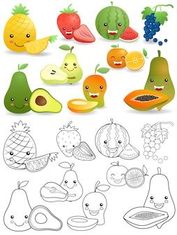 Conjunto, de, divertido, frutas, caricatura