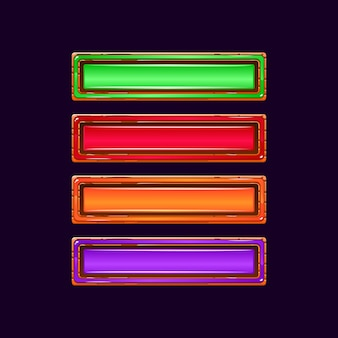 Conjunto de divertido icono de barra de progreso de carga de gelatina colorida gui con borde de madera para elementos de activos de interfaz de usuario