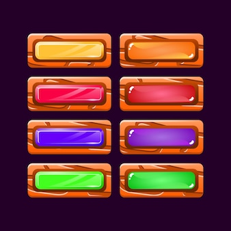 Conjunto de divertido juego colorido ui botón de diamante de madera y gelatina para elementos de activos de interfaz gráfica de usuario