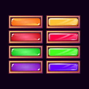 Conjunto de divertido juego ui antiguo botón de diamante de cristal de gelatina y madera para elementos de activos de interfaz gráfica de usuario