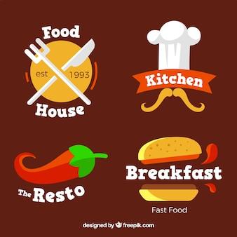 Conjunto divertido de logoss de restaurante con diseño plano