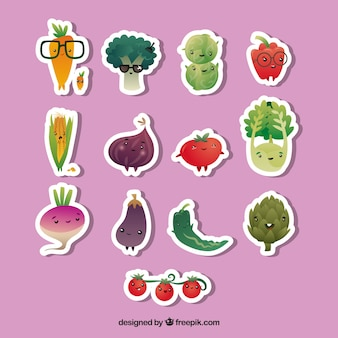 Conjunto divertido de pegatinas de verduras