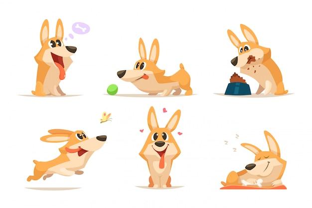 Conjunto divertido del perrito de la historieta linda