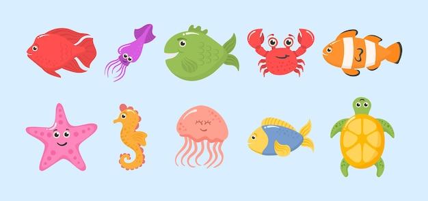 Conjunto de divertidos animales del océano sobre un fondo blanco.