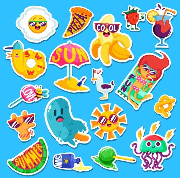 Conjunto de divertidos emblemas y pegatinas de verano brillante.