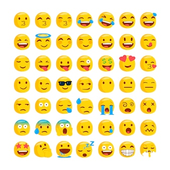 Conjunto de divertidos emojis clásicos.