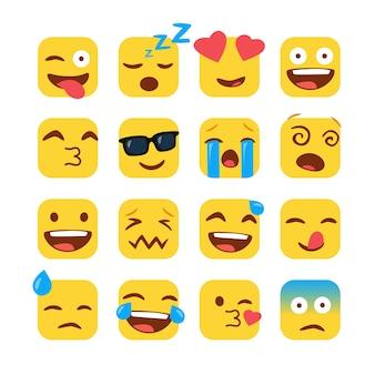 Conjunto de divertidos emojis cuadrados