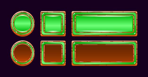 Conjunto de divertidos iconos de botones de interfaz de usuario de juego de gelatina de madera para elementos de activos de interfaz gráfica de usuario