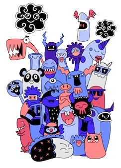 Conjunto de divertidos monstruos, extraterrestres o animales de fantasía.